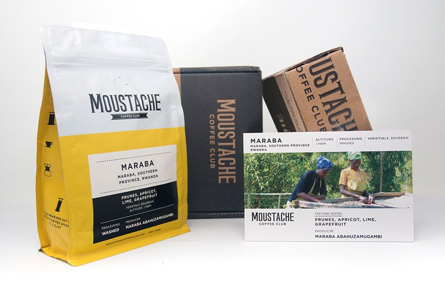 moustache coffee club package design and branding