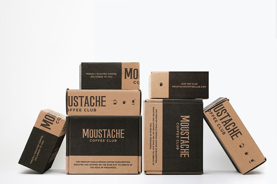 moustache coffee club custom shipping packaging
