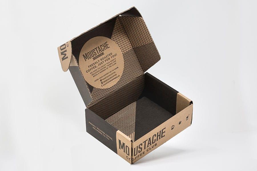 moustach coffee club custom packaging when open