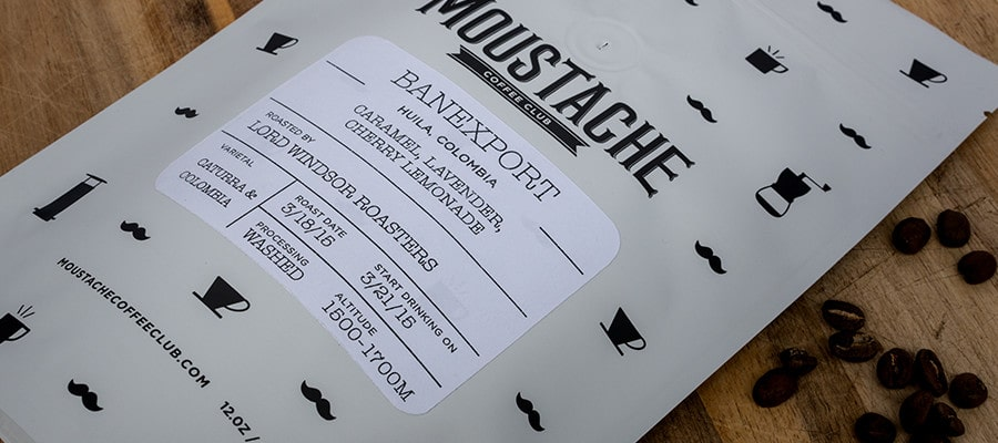 Moustache Coffee Club packaging design with custom illustrations