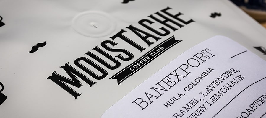 Moustache Coffee Club packaging design close up