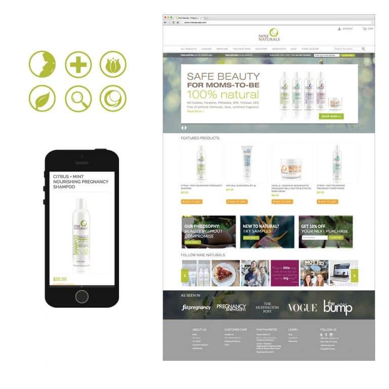 Responsive Website design for Nine Naturals by nature & nurture creative