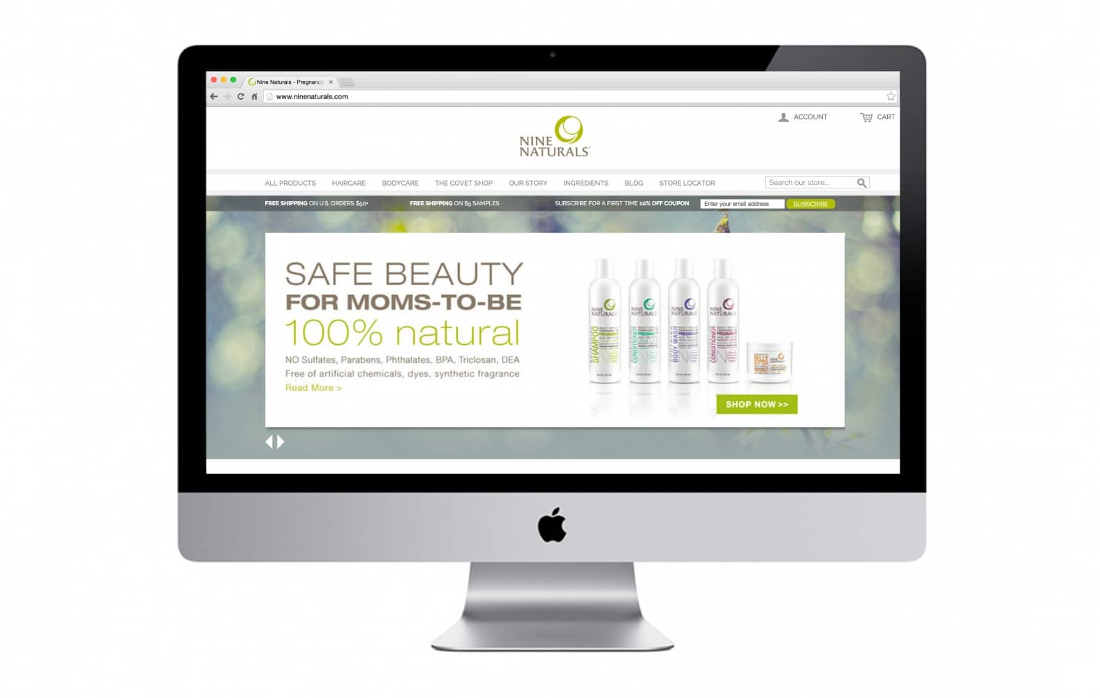 Responsive website design on large screen for nine naturals by nature & nurture creative