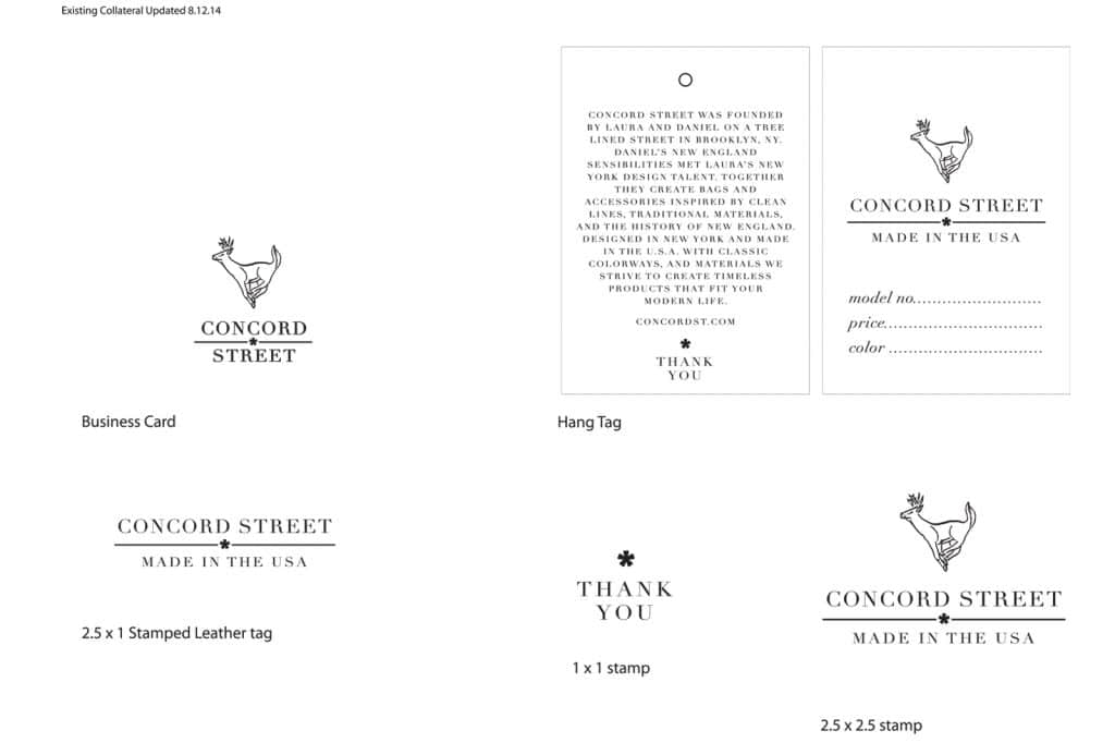 branding, hang tag collateral for concord street by nature & nurture creative