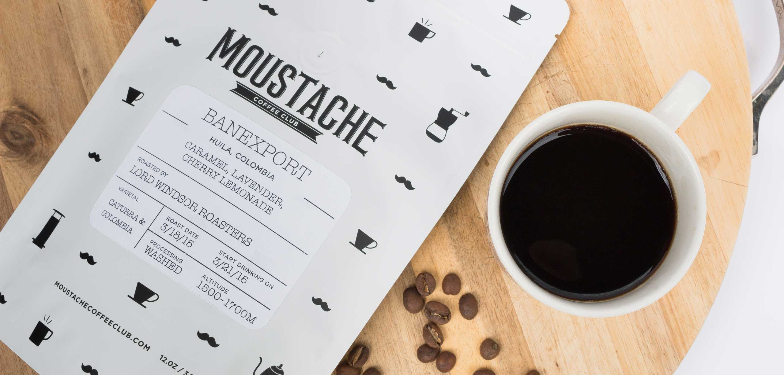 Moustache Coffee Club packaging design with coffee mug close up