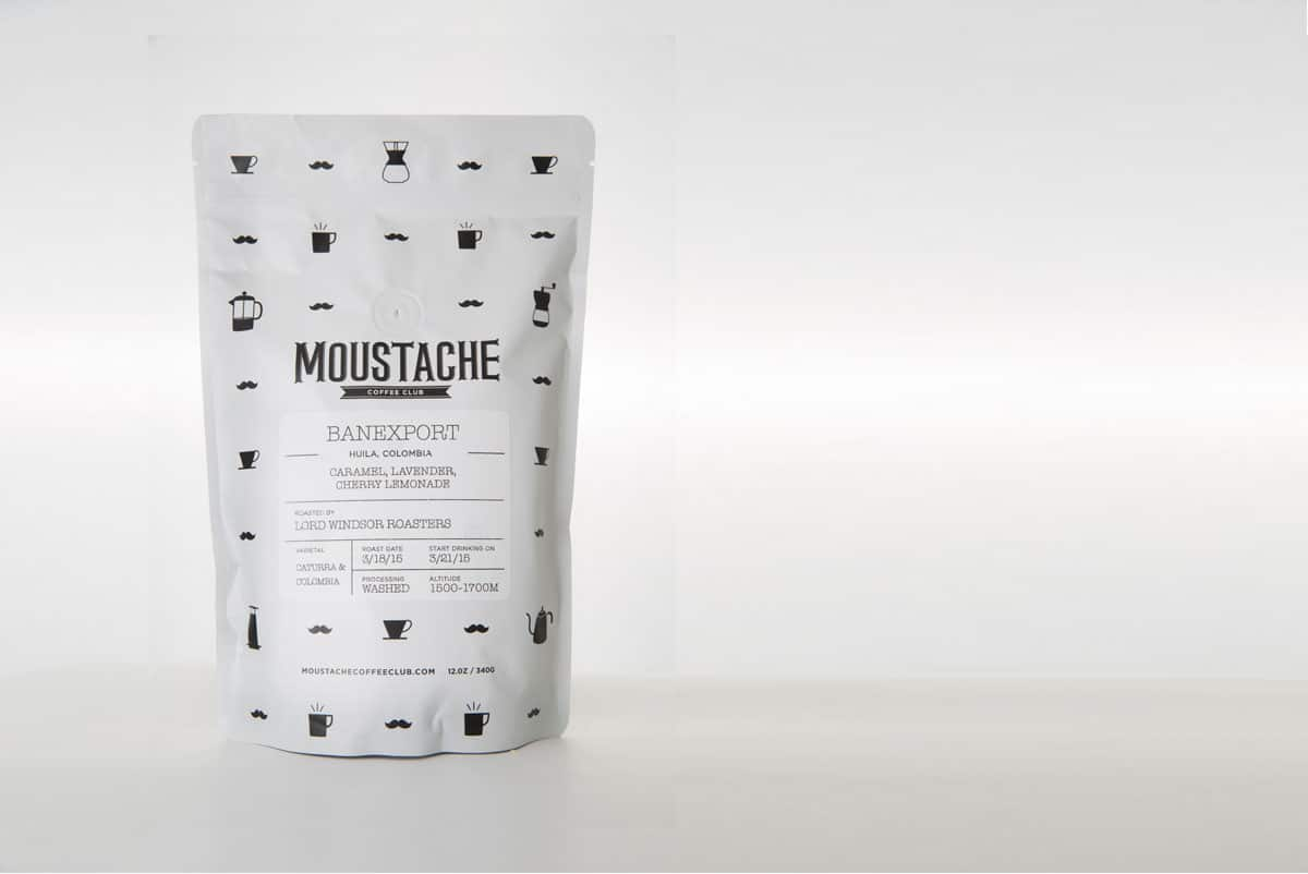 branding and package design for moustache coffee club by nature & nurture creative