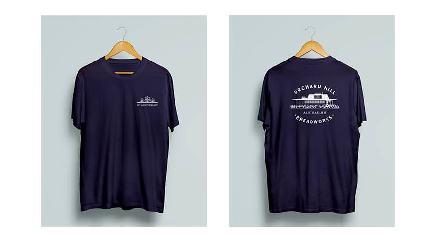 redesigned orchard hill breadworks logo on a t-shirt mockup