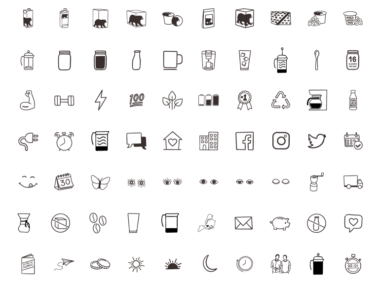 Wandering Bear hand drawn icons